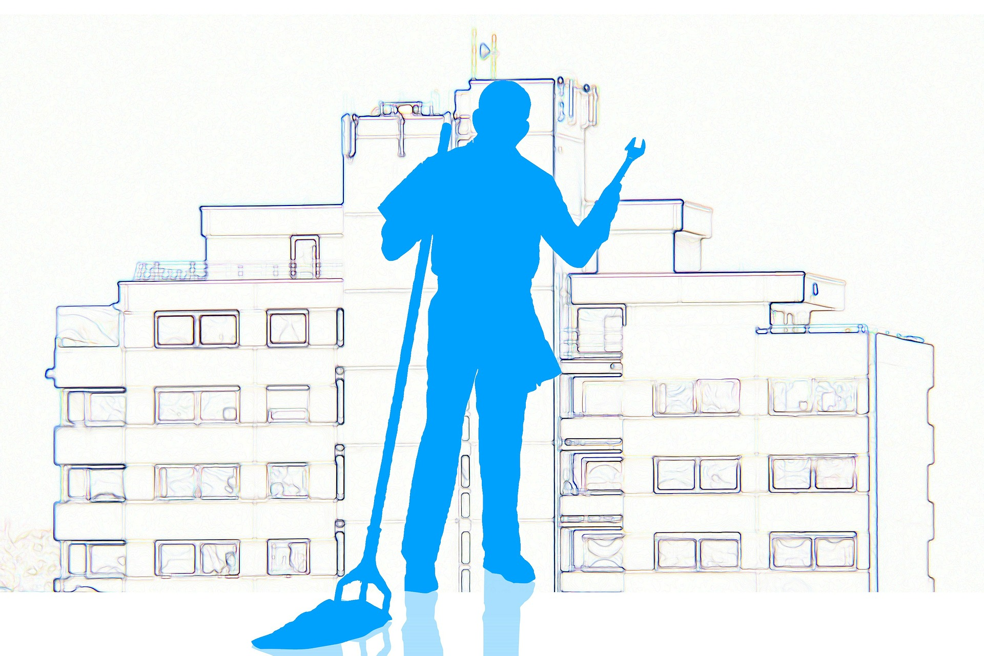 Graphic Design image of a janitor holding a mop standing in front of a building