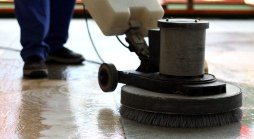cleaning church floor